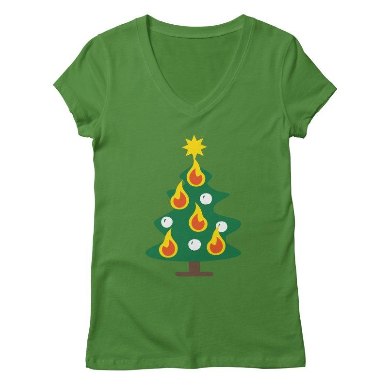 Burning Christmas Tree Women's Regular V-Neck by Dicker Dandy