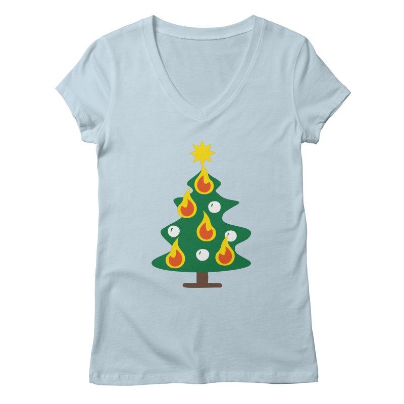 Burning Christmas Tree Women's V-Neck by Dicker Dandy