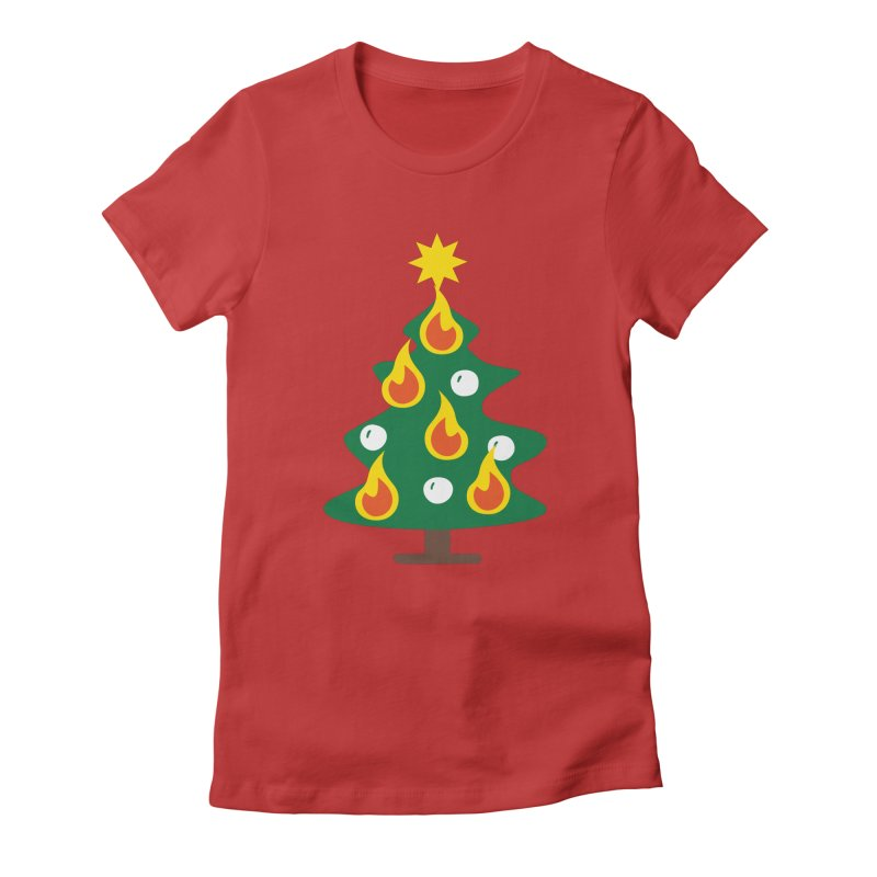 Burning Christmas Tree Women's Fitted T-Shirt by Dicker Dandy
