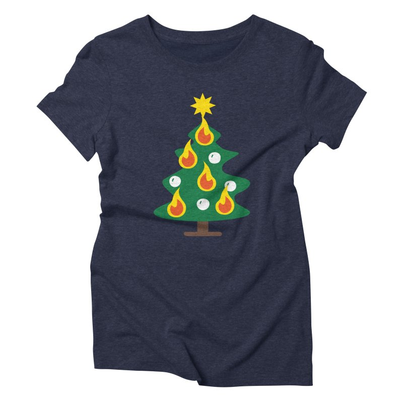 Burning Christmas Tree Women's Triblend T-Shirt by Dicker Dandy