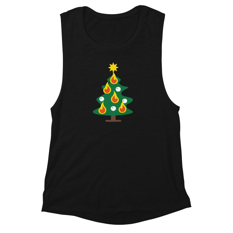 Burning Christmas Tree Women's Muscle Tank by Dicker Dandy