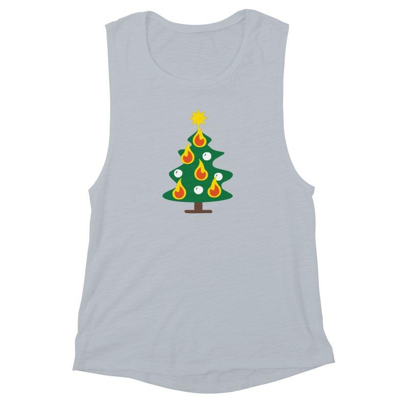 Burning Christmas Tree Women's Muscle Tank by Dicker Dandy