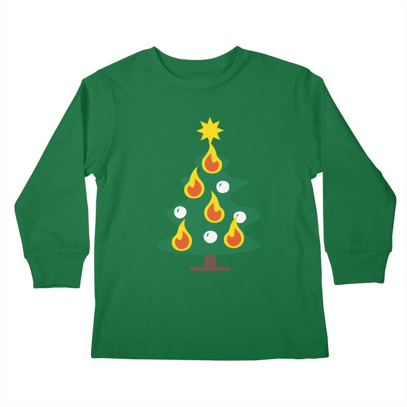 Burning Christmas Tree Kids Longsleeve T-Shirt by Dicker Dandy