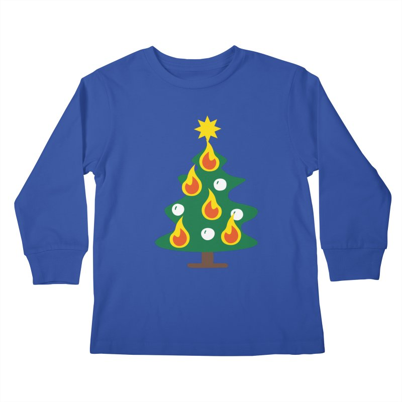 Burning Christmas Tree Kids Longsleeve T-Shirt by Dicker Dandy