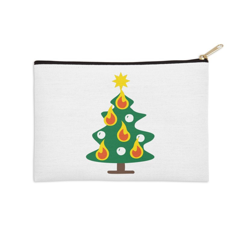 Burning Christmas Tree Accessories Zip Pouch by Dicker Dandy