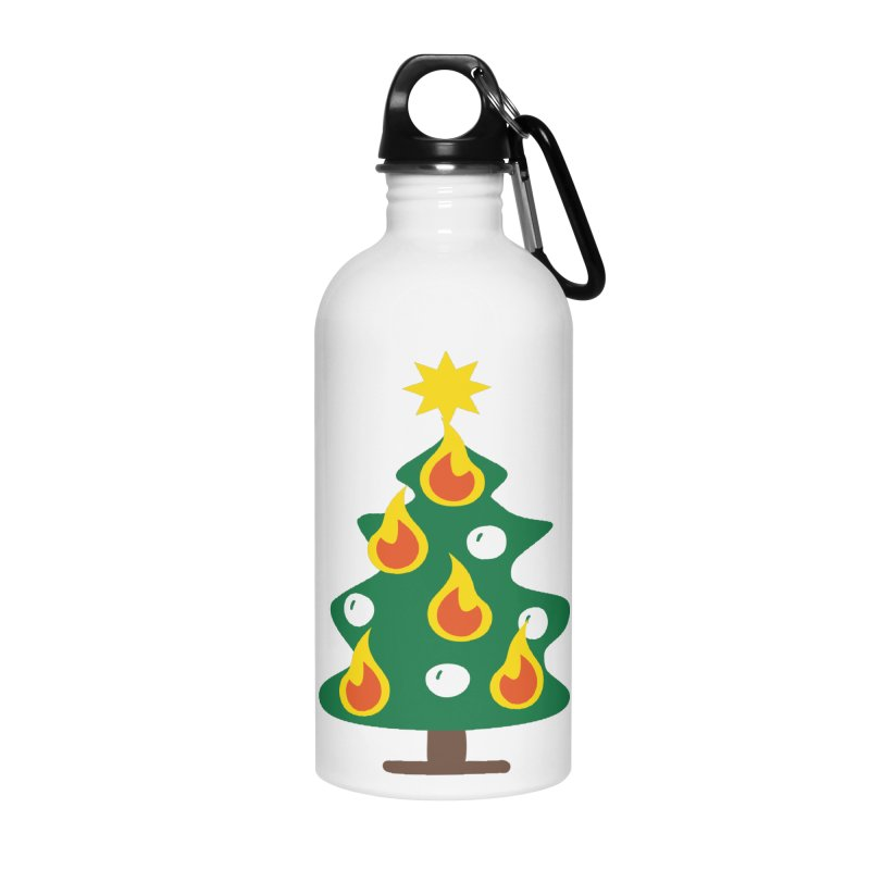 Burning Christmas Tree Accessories Water Bottle by Dicker Dandy