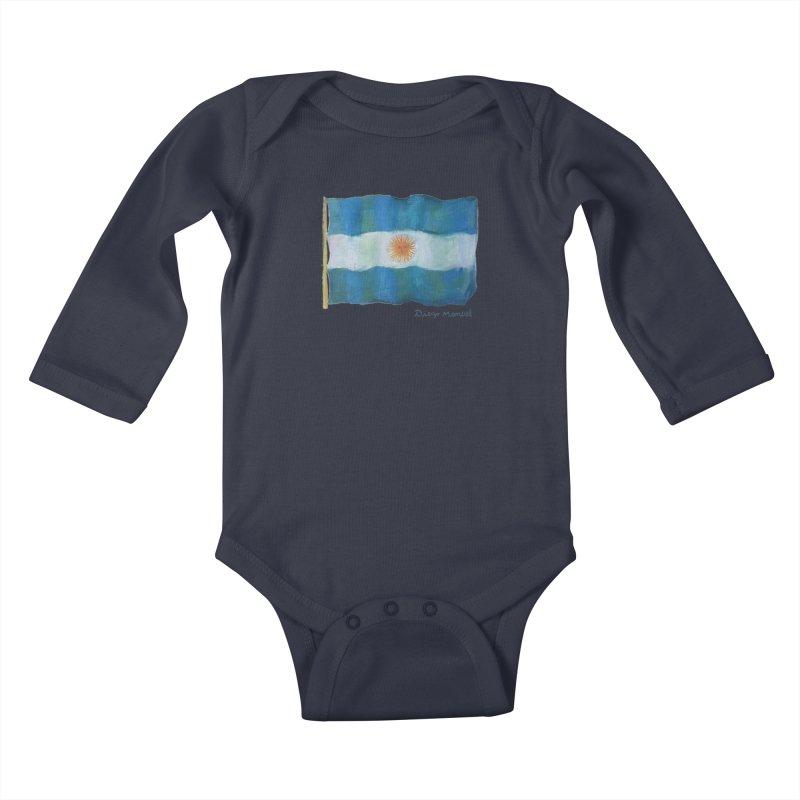 Argentina flag Kids Baby Longsleeve Bodysuit by diegomanuel's Artist Shop