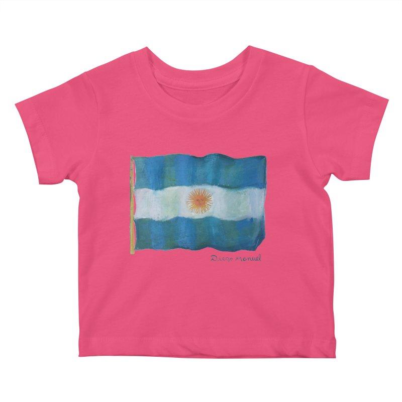 Argentina flag Kids Baby T-Shirt by diegomanuel's Artist Shop