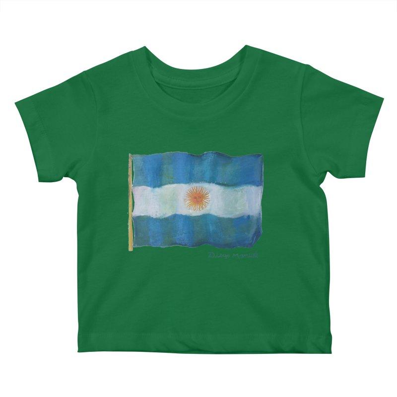 Argentina flag Kids Baby T-Shirt by Diego Manuel Rodriguez Artist Shop