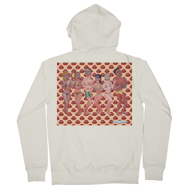 Beach party 6 Women's French Terry Zip-Up Hoody by diegomanuel's Artist Shop