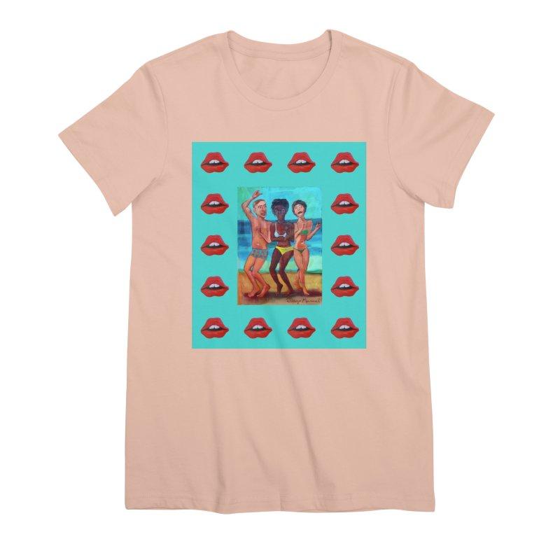 Dancing on the beach 3 Women's Premium T-Shirt by diegomanuel's Artist Shop