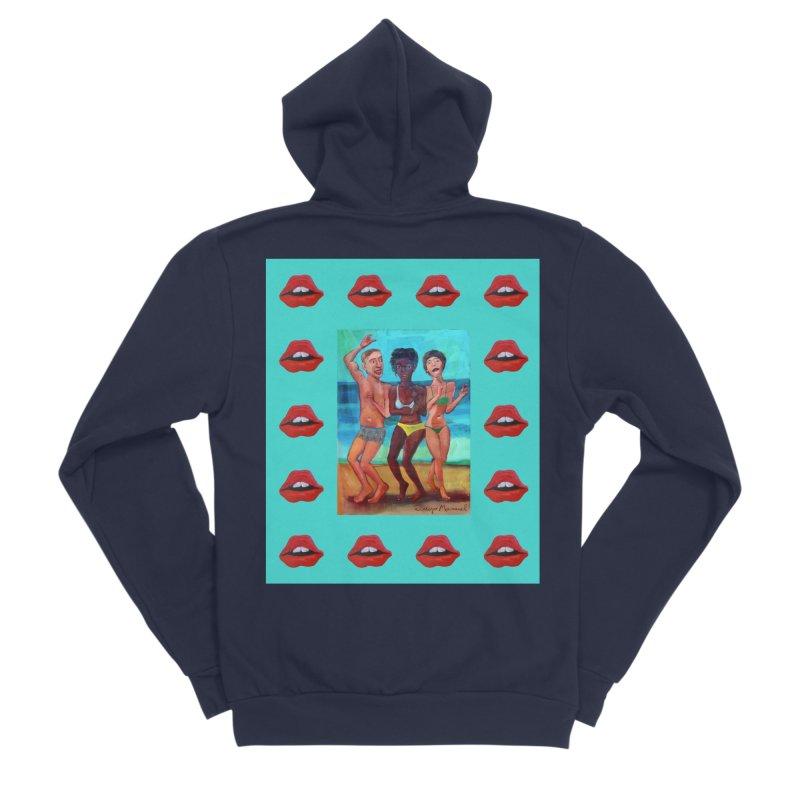 Dancing on the beach 3 Women's Sponge Fleece Zip-Up Hoody by diegomanuel's Artist Shop
