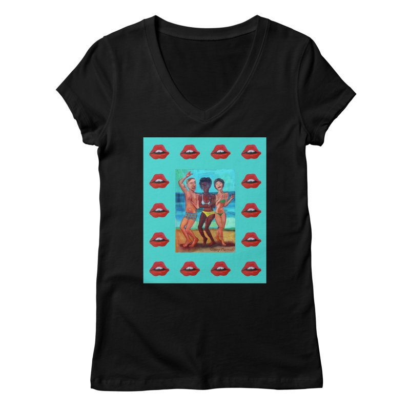 Dancing on the beach 3 Women's V-Neck by Diego Manuel Rodriguez Artist Shop