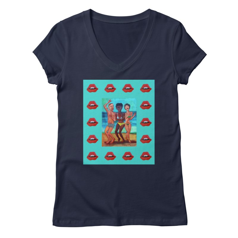 Dancing on the beach 3 Women's Regular V-Neck by diegomanuel's Artist Shop