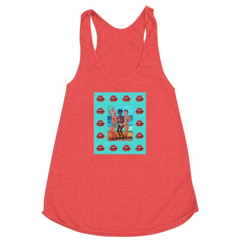 Dancing on the beach 3 Women's Racerback Triblend Tank by diegomanuel's Artist Shop