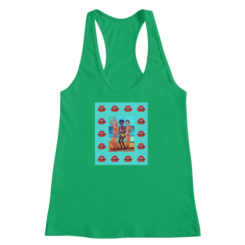 Dancing on the beach 3 Women's Racerback Tank by diegomanuel's Artist Shop