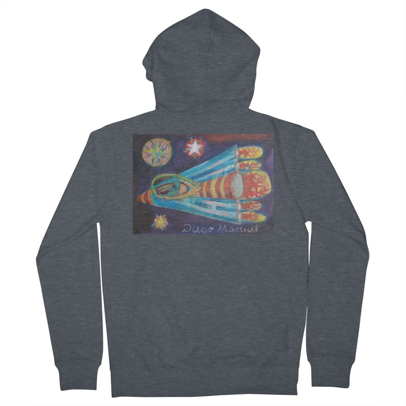 spaceship Men's French Terry Zip-Up Hoody by diegomanuel's Artist Shop