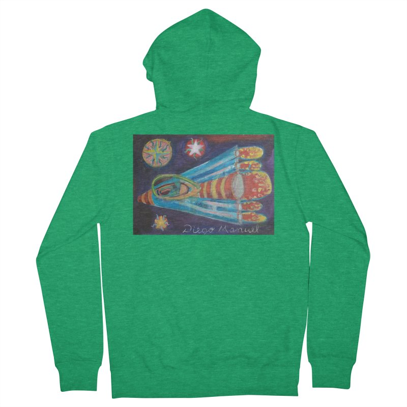 spaceship Men's Zip-Up Hoody by Diego Manuel Rodriguez Artist Shop