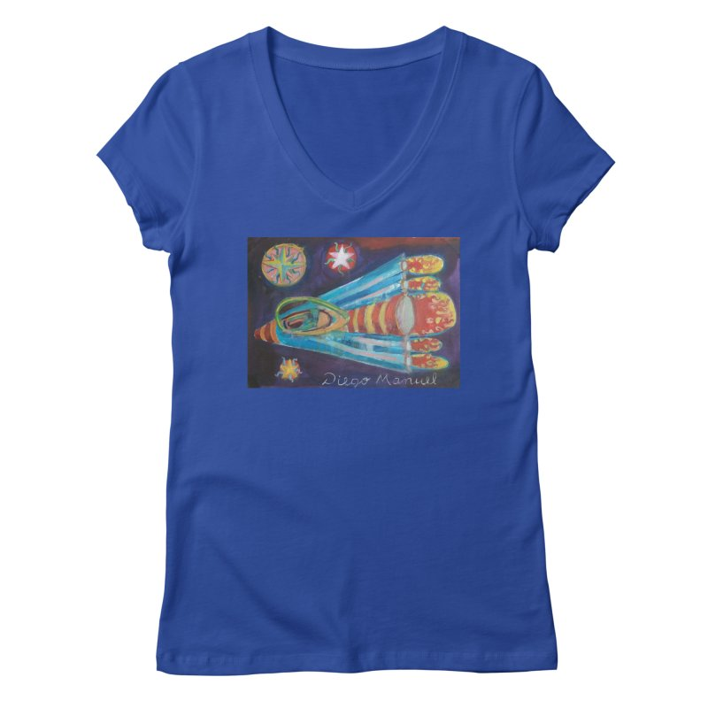 spaceship Women's V-Neck by Diego Manuel Rodriguez Artist Shop