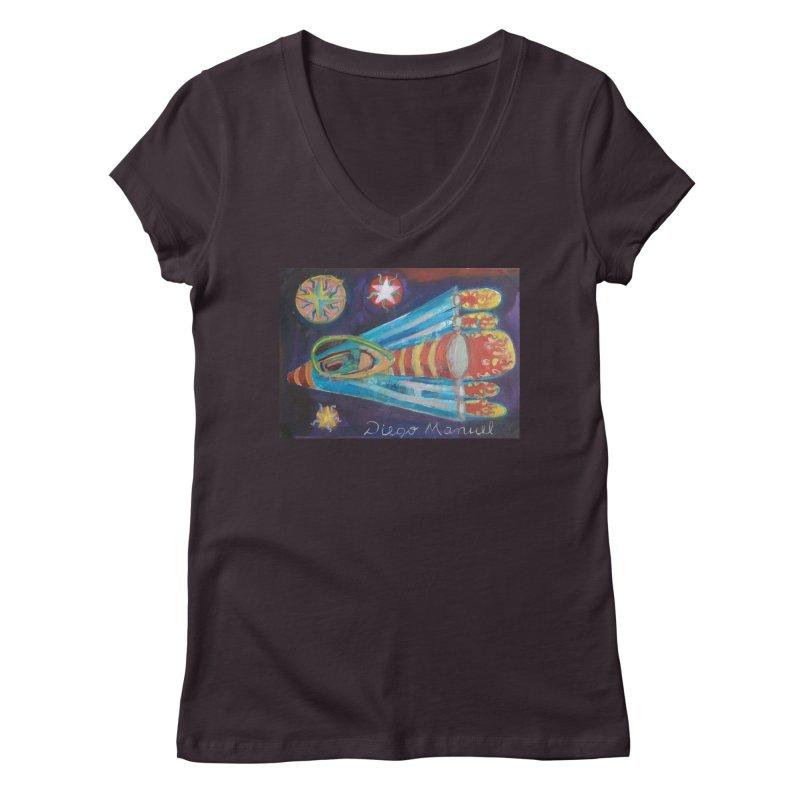 spaceship Women's Regular V-Neck by diegomanuel's Artist Shop