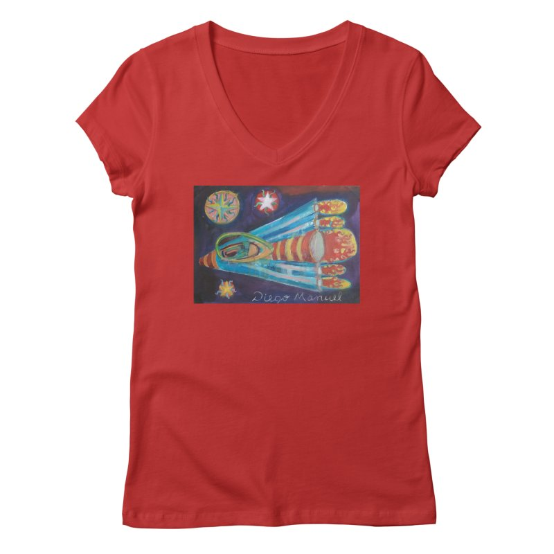 spaceship Women's Regular V-Neck by diegomanuel's Artist Shop
