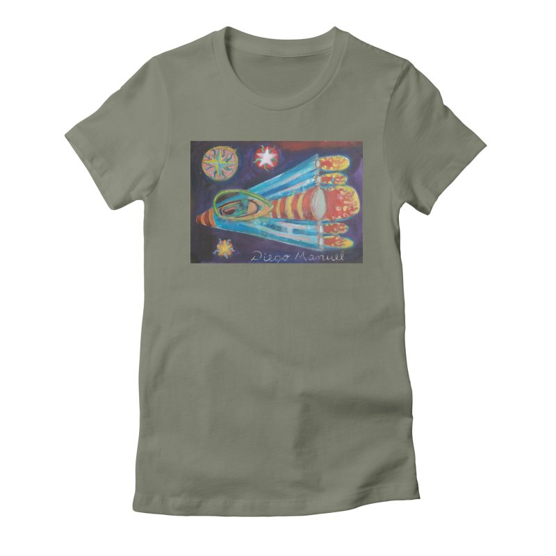 spaceship Women's Fitted T-Shirt by diegomanuel's Artist Shop