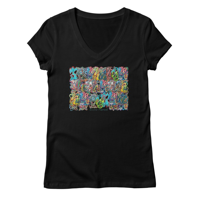 Graffiti 2 Women's V-Neck by Diego Manuel Rodriguez Artist Shop