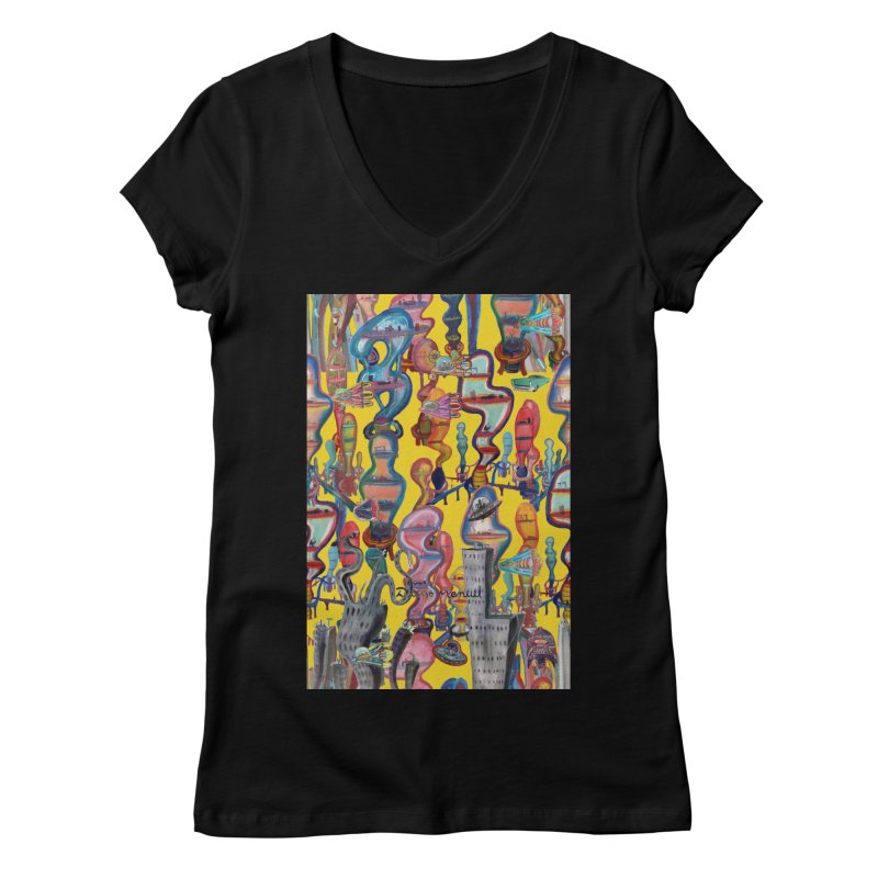 city 1 Women's V-Neck by Diego Manuel Rodriguez Artist Shop