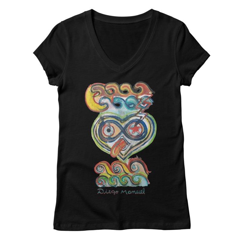 pop graffiti 1 Women's V-Neck by Diego Manuel Rodriguez Artist Shop