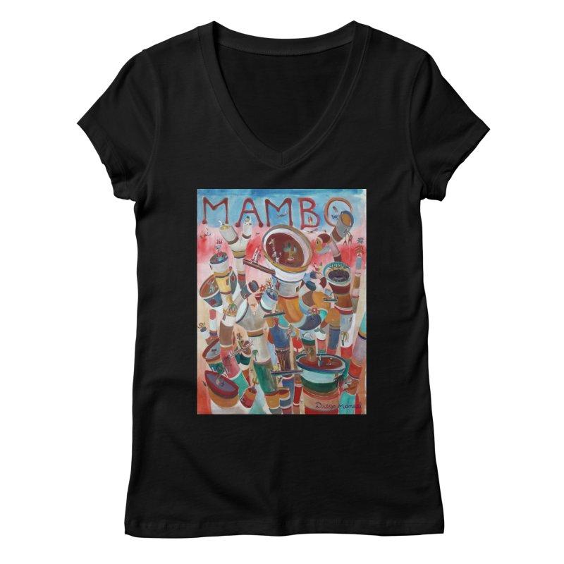 Mambo Women's V-Neck by Diego Manuel Rodriguez Artist Shop