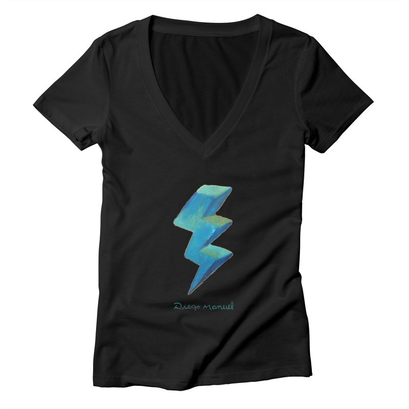 Blue ray Women's V-Neck by Diego Manuel Rodriguez Artist Shop