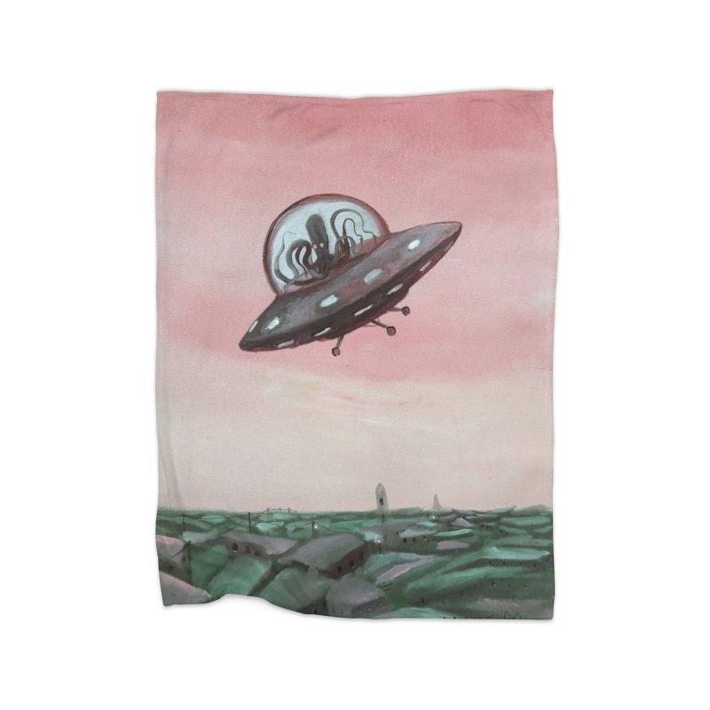 Extraterrestrial visit Home Blanket by Diego Manuel Rodriguez Artist Shop