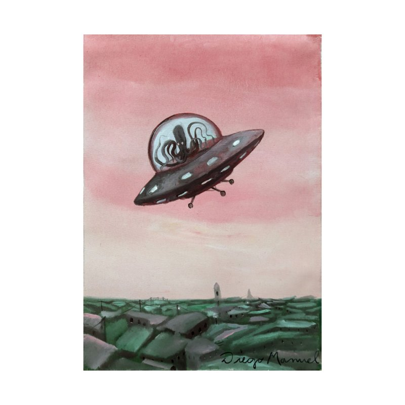 Extraterrestrial visit Home Shower Curtain by Diego Manuel Rodriguez Artist Shop