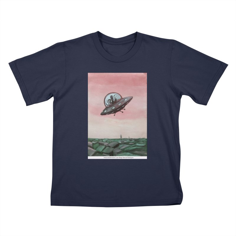 Extraterrestrial visit Kids T-Shirt by Diego Manuel Rodriguez Artist Shop