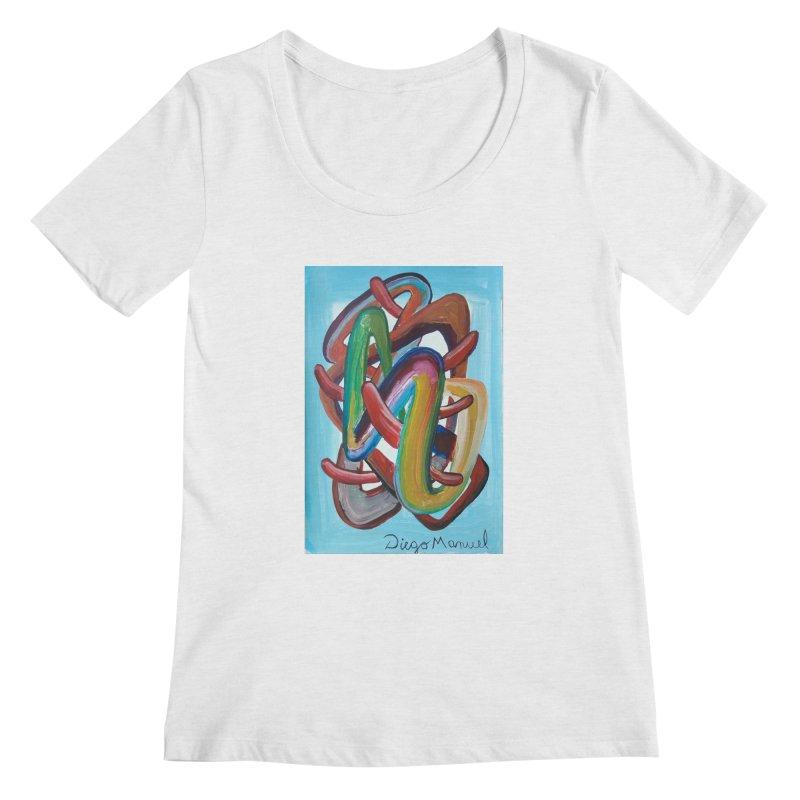 Formas en el espacio 7 Women's Scoopneck by diegomanuel's Artist Shop