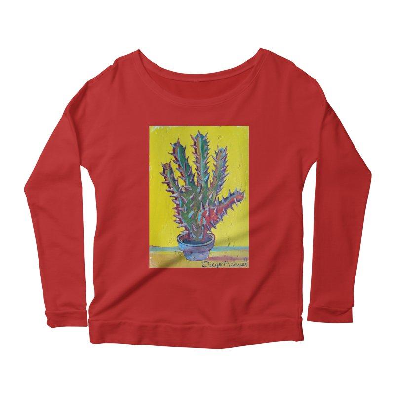 Mano cactus 2 Women's Longsleeve Scoopneck  by diegomanuel's Artist Shop