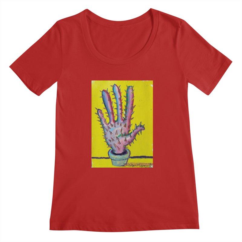 Mano cactus 3 Women's Scoopneck by diegomanuel's Artist Shop