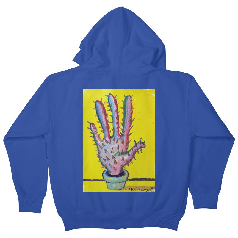 Mano cactus 3 Kids Zip-Up Hoody by diegomanuel's Artist Shop
