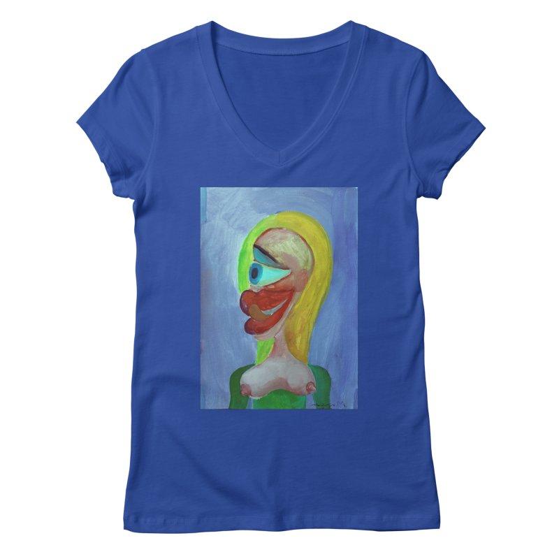 Rubia cubista 4 Women's V-Neck by diegomanuel's Artist Shop