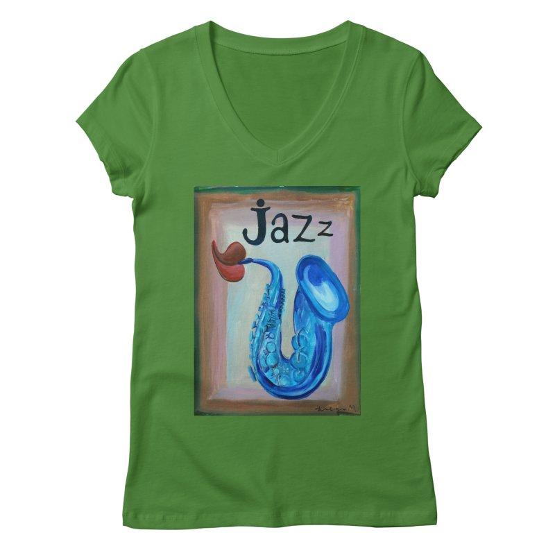 jazz 4 Women's V-Neck by diegomanuel's Artist Shop