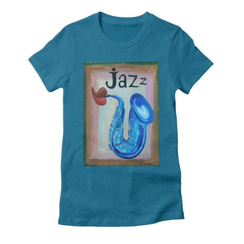 jazz 4 Women's Fitted T-Shirt by diegomanuel's Artist Shop