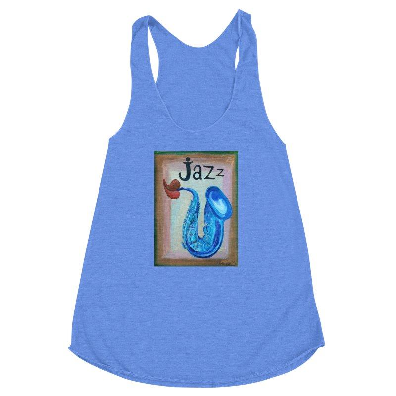 jazz 4 Women's Racerback Triblend Tank by diegomanuel's Artist Shop