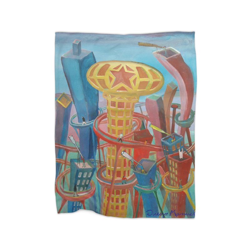 Ciudad 2 Home Fleece Blanket Blanket by diegomanuel's Artist Shop