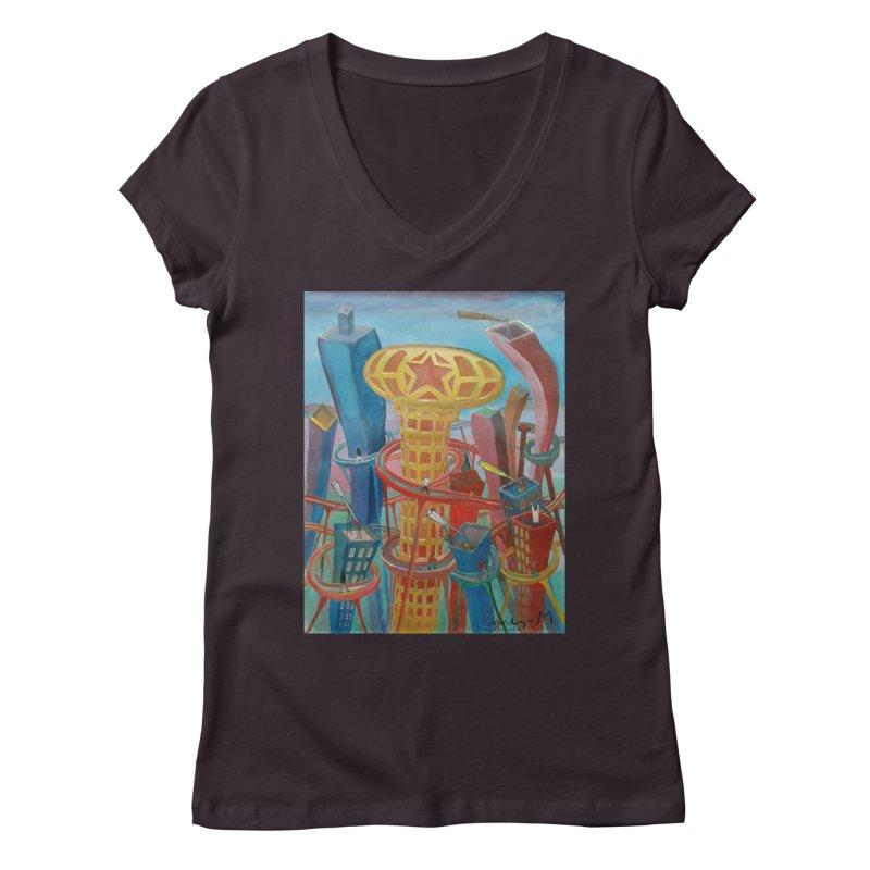 Ciudad 2 Women's V-Neck by diegomanuel's Artist Shop