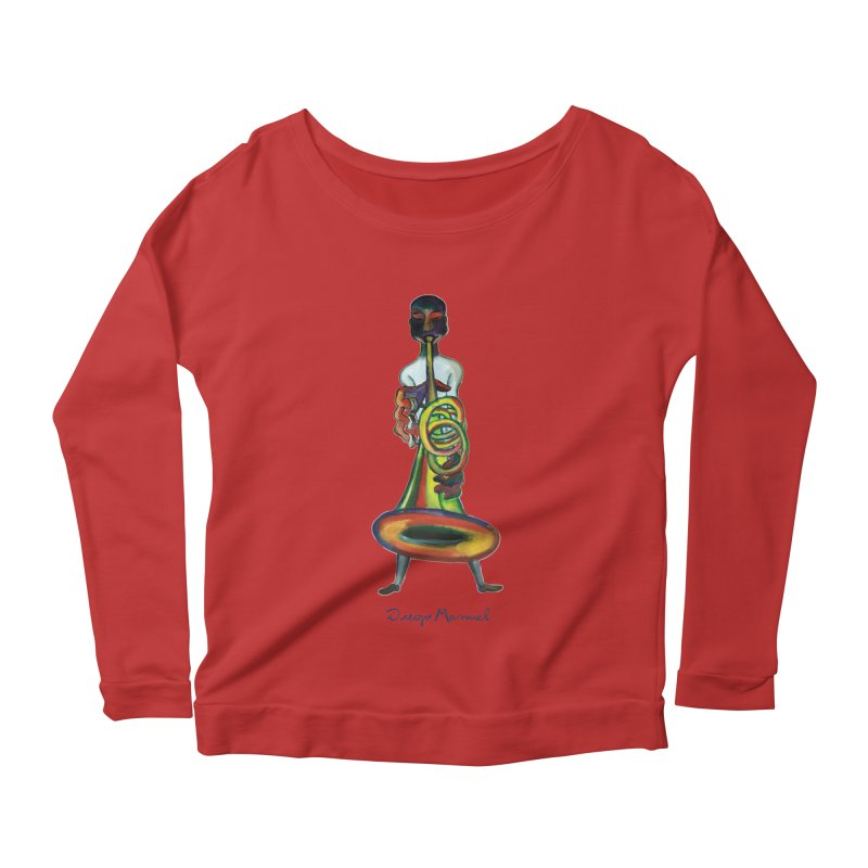 El trompetista Women's Scoop Neck Longsleeve T-Shirt by diegomanuel's Artist Shop