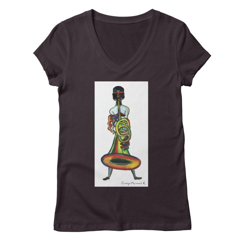 El trompetista Women's V-Neck by diegomanuel's Artist Shop
