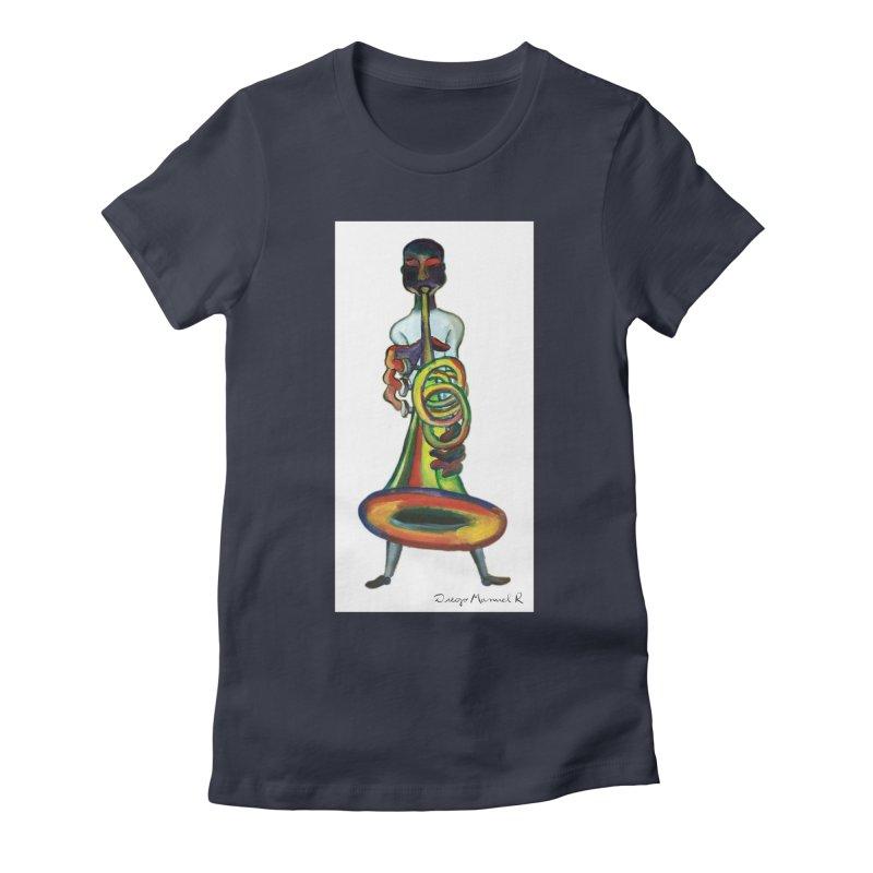 El trompetista Women's Fitted T-Shirt by diegomanuel's Artist Shop