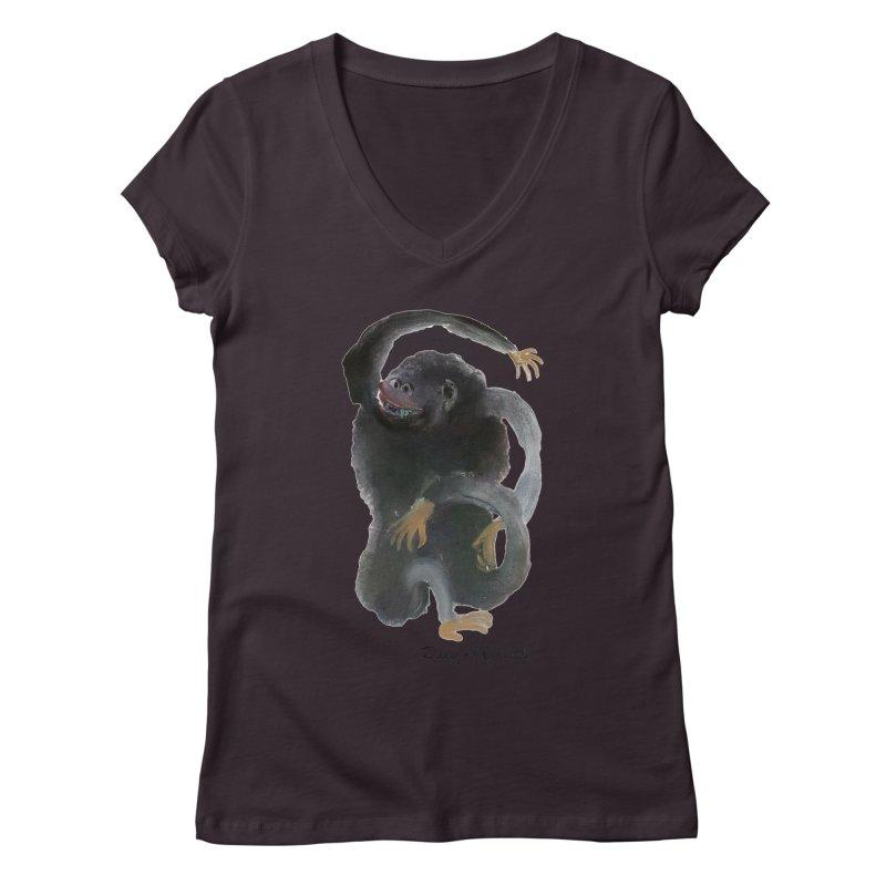 Gorilla 2 Women's V-Neck by diegomanuel's Artist Shop