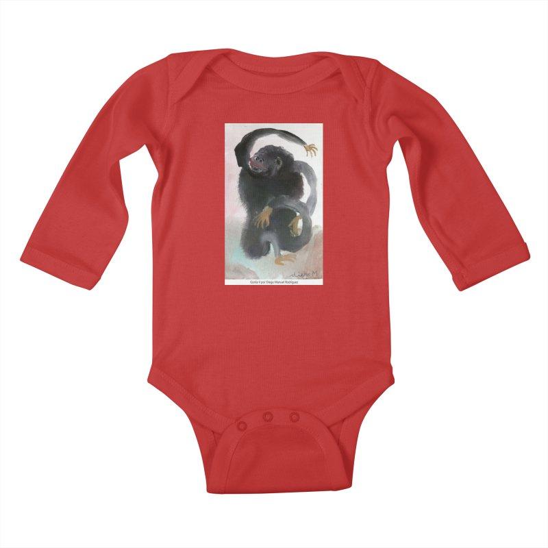 Gorilla 2 Kids Baby Longsleeve Bodysuit by diegomanuel's Artist Shop