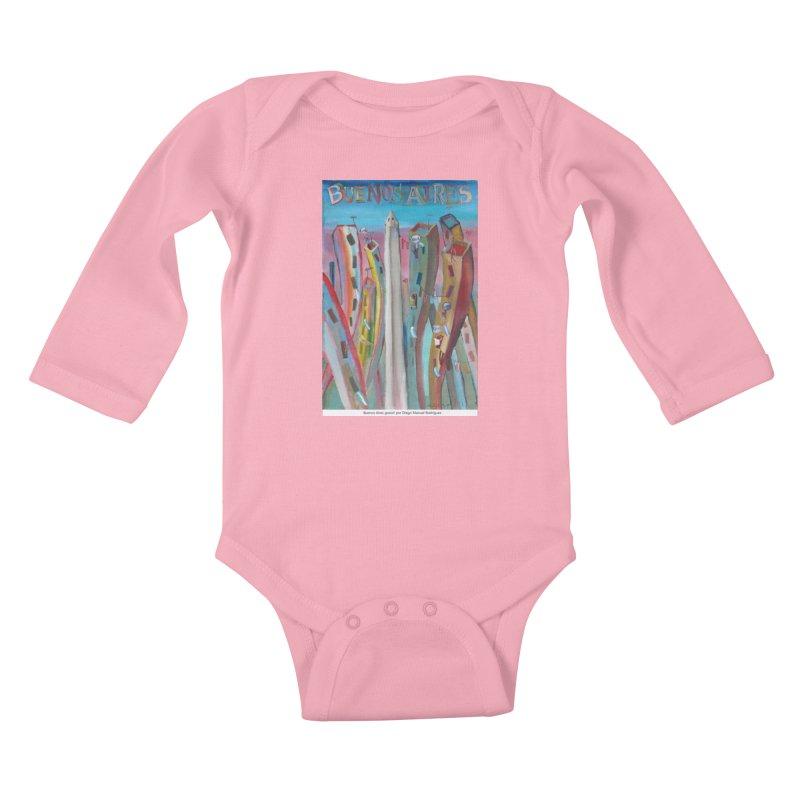 Buenos Aires goool! Kids Baby Longsleeve Bodysuit by diegomanuel's Artist Shop